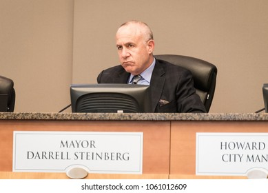 SACRAMENTO, CA/U.S.A. - APRIL 3, 2018: Mayor Darrell Steinberg listens to speakers about the police shooting of Stephon Clark, an unarmed black man standing in his grandmother's backyard.