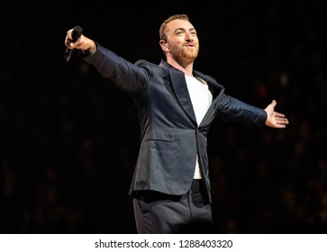SACRAMENTO, CA/U.S.A. - AUGUST 24, 2018: Photo of Sam Smith performing at the Golden1 Center.