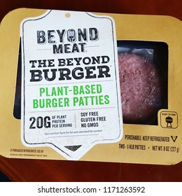 SACRAMENTO, CA/U.S.A. - AUGUST 30, 2018: A photo of a Beyond Meat veggie burger.  The vegan patty is colored with beet juice and has the texture of a real beef patty.