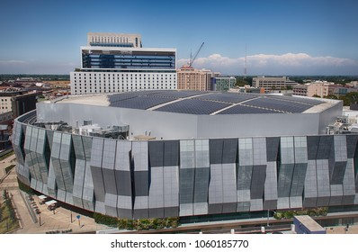 SACRAMENTO, CA/U.S.A. - AUGUST 9, 2017: Sacramento's recently completed Golden 1 Center is a LEED Platinum structure and features solar panels that power it by day.It is the greenest arena in the U.S.