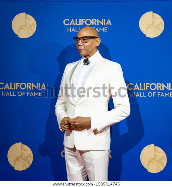 SACRAMENTO, CA/U.S.A. - DECEMBER 10, 2019: Television personality RuPaul Andre Charles stands at the step and repeat part of the Hall of Fame inductees event at the California Museum.