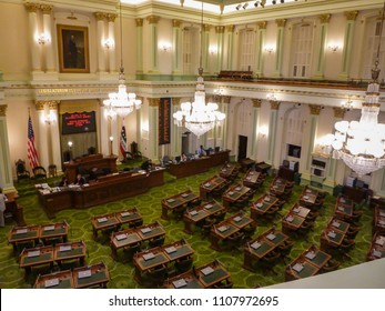 SACRAMENTO, CA/U.S.A. - JULY 9, 2013: A photo of the main Assembly chamber in the the State's Capitol building.