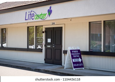 SACRAMENTO, CA/U.S.A. - JUNE 2, 2018: The Life Center is an anti-abortion center accused of not complying with a state law to post information related to low-cost abortions and family planning.