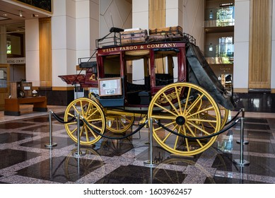 SACRAMENTO, CA/U.S.A. - JUNE 8, 2019: One of the ten original and historic Wells Fargo six-horse stagecoaches, located at the Wells Fargo History Museum.