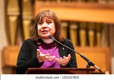 SACRAMENTO, CA/U.S.A. - MARCH 5, 2019: United Methodist Bishop Minerva Carcano addresses a gathering around the anti-gay Traditional Plan, passed during the denomination's recent General Conference.