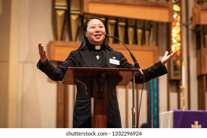 SACRAMENTO, CA/U.S.A. - MARCH 5, 2019: United Methodist pastor Motoe Yamada Foor addresses a gathering around the anti-gay Traditional Plan, passed during the denomination's recent General Conference.
