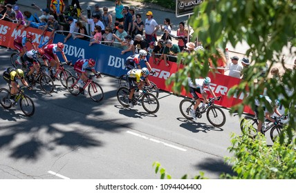 SACRAMENTO, CA/U.S.A. - MAY 19, 2018: A look down at Egan Bernal Gomez racing in the men's peloton. Bernal was the yellow jersey winner from stage 2 of the Amgen Tour of California race.
