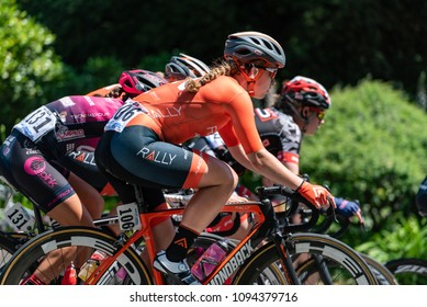 SACRAMENTO, CA/U.S.A. - MAY 19,2018: Emma White rides for the Rally Cycling team at the final stage of the Amgen Tour of California in downtown Sacramento. White won the Visit California Sprint jersey