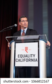SACRAMENTO, CA/U.S.A.-APRIL 10,2018. California Attorney General Xavier Becerra speaks after receiving the Leadership Ally Award from Equality California for his support of the LGBTQ community.