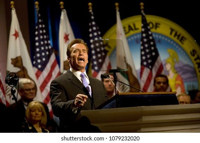 Sacramento, CA/USA-Jan 05, 2007;  California Governor Arnold Schwarzenegger gives a speech after being sworn in for his 2nd term during an inauguration ceremony in Sacramento.
