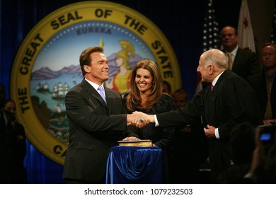 Sacramento, CA/USA-Jan 05, 2007;  California Governor Arnold Schwarzenegger and wife Maria Shriver photographed after being sworn in for his 2nd term during an inauguration ceremony in Sacramento.