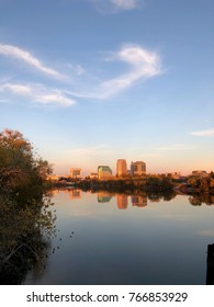 Sacramento Downtown from across the river during a fall sunset