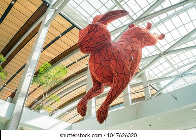 Sacramento, FEB 20: Big red rabbit art hanging at the airport on FEB 20, 2018 at Sacramento, California