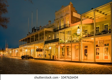 Sacramento, FEB 20: Night view of the famous Old Sacramento Historic District on FEB 20, 2018 at Sacramento, California