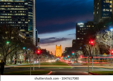 Sacramento, FEB 21: Night view of the historical downtown Sacramento with tower bridge on FEB 21, 2018 at Sacramento, California