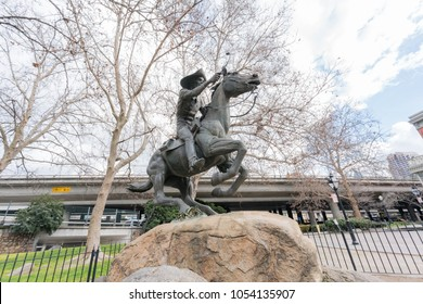 Sacramento, FEB 22: Afternoon view of Pony Express Statue in the famous Old Sacramento Historic District on FEB 22, 2018 at Sacramento, California