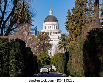 Sacramento, FEB 23: Afternoon exterior view of the historical California State Capitol on FEB 23, 2018 at Sacramento, California