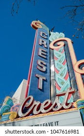 Sacramento, FEB 23: Sign of the historical Crest Theatre on FEB 23, 2018 at Sacramento, California