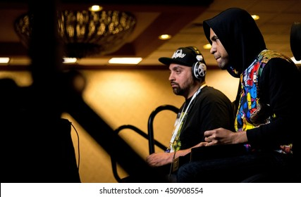 SACRAMENTO - MARCH 26: eSports athlete Keno versus Crizzle in Street Fighter V video game match on March 26, 2016 at NCR NorCal Regionals fighting game tournament.