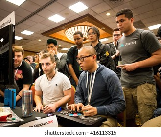 SACRAMENTO - MARCH 26: Mikey XsK Samurai Chea playing a casual game of Street Fighter V on March 26, 2016 at NCR NorCal Regionals, the premier fighting game tournament.