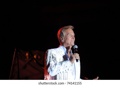 SACRAMENTO - MARCH 27: Pat Boone performs on stage at Thunder Valley Casino in Rocklin, Sacramento, CA on March 27, 2011