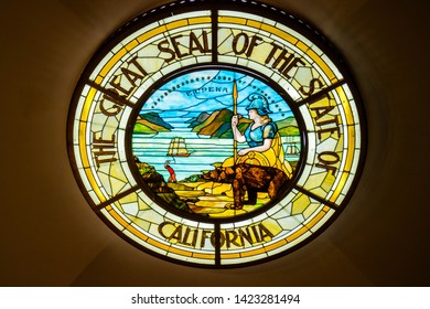Sacramento State Capital, CA, USA - October 4, 2017: The Great Seal of the State of California stone marker