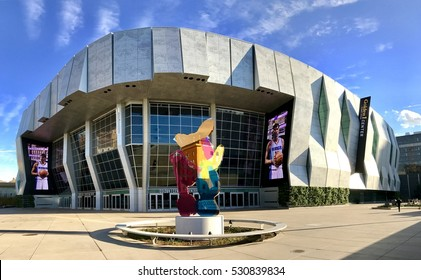 SACRAMENTO, USA - DEC 6, 2016: Golden One Stadium, Sacramento Arena with water color metal sculpture based on Piglet from the Winnie the Pooh books a $8 million sculpture by New York artist Jeff Koo