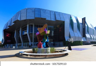 SACRAMENTO, USA - FEB 2, 2018: Golden One Stadium, Sacramento Arena with water color metal sculpture based on Piglet from the Winnie the Pooh books a $8 million sculpture by New York artist Jeff Koo