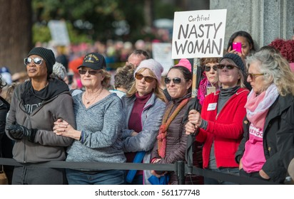 Sacramento, U.S.A. - January 21, 2017: An estimated 25,000 people took part in the Women's March on California's state capitol in a show of solidarity of women's rights and to protest President Trump.