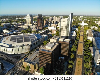 SACRAMENTO, USA - JUN 12, 2018: Aerial View of Golden One Stadium. Golden 1 Center is a LEED Platinum structure and features solar panels that provides power. It is the greenest Arena in the U.S.