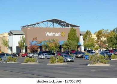 SACRAMENTO, USA - SEPTEMBER 23: Walmart store on September 23, 2013 in Sacramento, California. Walmart is an American multinational corporation that runs chains of large discount department stores