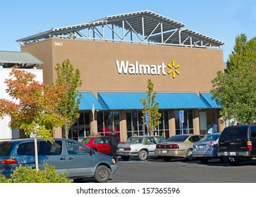 SACRAMENTO, USA - SEPTEMBER 23: Walmart store on September 23, 2013 in Sacramento, California. Walmart is an American multinational retail corporation that runs chains of discount department stores