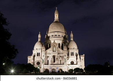 Sacre Coeur Basilica at night, Paris, France