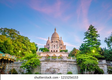 Sacre Coeur Cathedral on Montmartre Hill in Paris, France