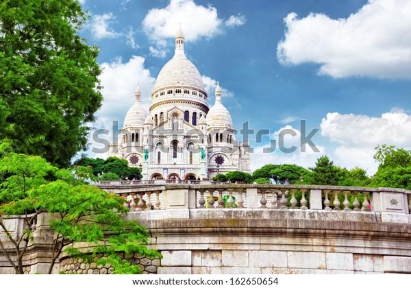 Sacre Coeur Cathedral on Montmartre , Paris, France.