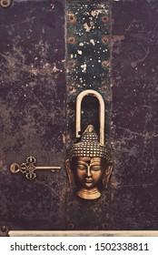 Sacred Buddha artistic lock and key.