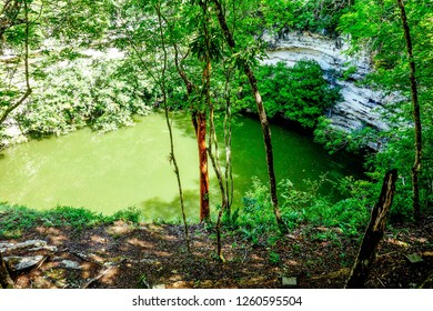 Sacred cenote at the archeological site Chichen Itza, Mexico.