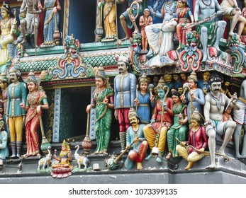sacred decorations at the roof of The Sri Mariamman Temple, the oldest hindu temple in Chinatown, Singapore