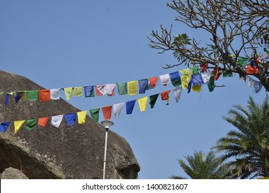 Sacred flags at Tegore Hill, Ranchi Jharkhand, India. It's a place of attraction fortourism due to its connection withthe ashram of Rabindranath Tegore's elder brother Jyotindranath Tegore.