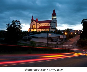 The Sacred Heart of Jesus Church (Saqrado Corazon al Jesus Church), a wooden building in the town of Puerto Varas in Patagonia in southern Chile, South America.