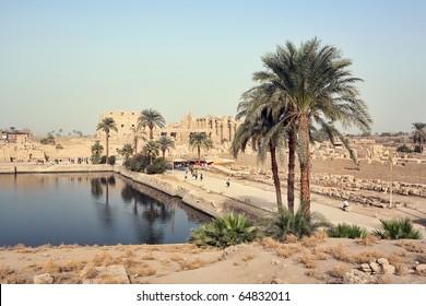 Sacred lake in Karnak temple, Luxor, Egypt