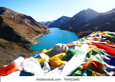 sacred lake in tibet landscape