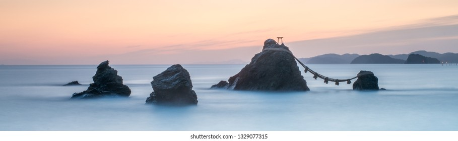 Sacred Meoto Iwa Rocks also known as the Married Couple Rocks, Futami, Mie Prefecture, Japan