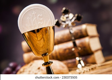 Sacred objects, bible, bread and wine. Studio shots