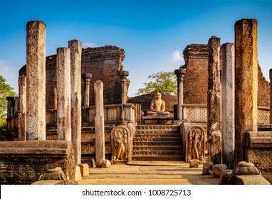 The Sacred Quadrangle with buddha, Ancient ruins Sri Lanka, Unesco ancient city Polonnaruwa, Sri Lanka