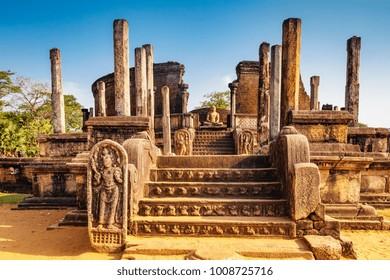 The Sacred Quadrangle with buddha, Ancient ruins Sri Lanka, Unesco ancient city Polonnaruwa, Sri Lanka