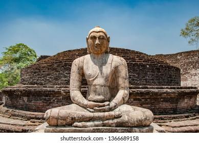 The sacred quadrangle with buddha, ancient ruins in Polonnaruwa in Sri Lanka