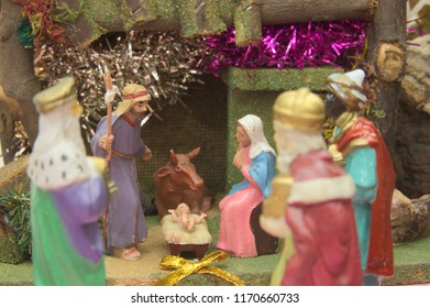 """Sacred scene of birth and adoration of the """"Three Kings"""" the baby Jesus"""