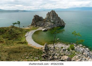Sacred shaman rock of Olkhon island. Lake Baikal, Siberia