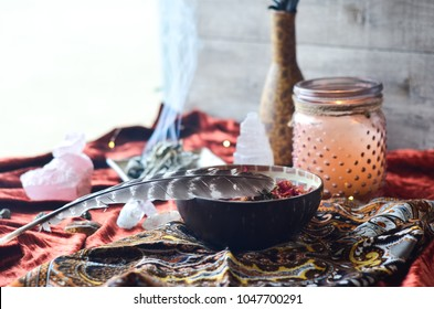 Sacred Space with sage and crystals